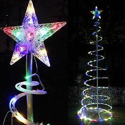 Yescom 6ft LED Spiral Christmas Tree Light 182 LEDs Battery