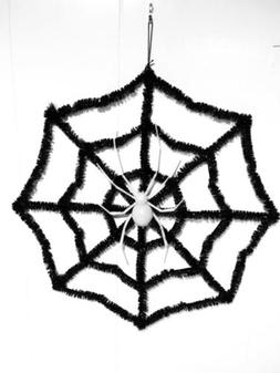 """Spooky Glowing Spider Web Sign Door Hanger 16"""" Halloween D"""