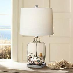 """Square Glass 21 3/4"""" High Fillable Lamp with Table Top Dimme"""