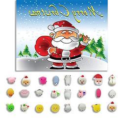 Squishy Toys, 24pcs Cartoon Christmas Toys Mini Cute Squeez