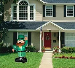 St Patrick's Day Inflatable Lighted Leprechaun w/ Clover Air