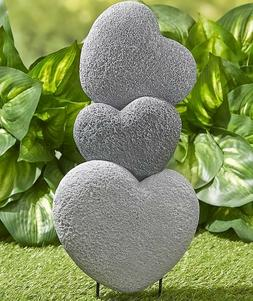 Stacked Stone Look Heart Garden Stake Yard Art Lawn Outdoor