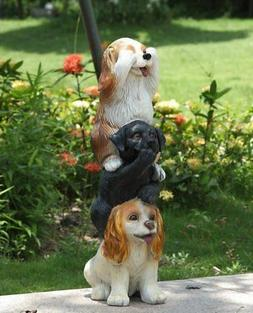 STACKING DOGS HEAR-SEE-SPEAK NO EVIL STATUE NEW YARD GARDEN