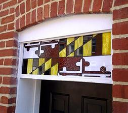 Stained Glass Transom Window - Maryland Flag Design