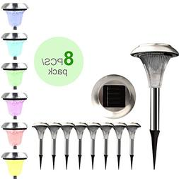 8Pcs Outdoor Stainless Steel Solar Light Color Changing LED