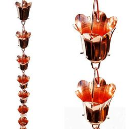 Stanwood Rain Chain Tulip Flower Blossom Copper Rain Chain,