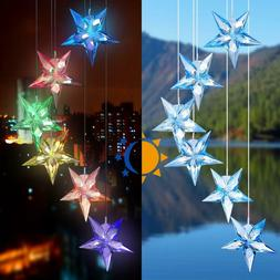 Star LED Color-Changing Power Solar Wind Chimes Yard Home Ga
