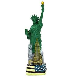9 Inch Statue of Liberty Replica Statue with NYC Skyline Ame
