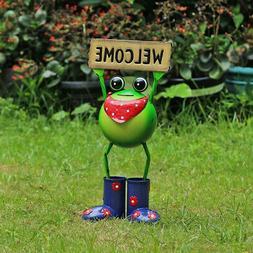 Steel Welcome Frog Animal Statue 18 Inch Indoor Outdoor Gard