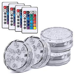 4PCS Submersible Vase LED Lights Battery Powered, Remoted Co