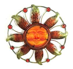 Bejeweled Display® Sun Face w/ Stain Glass Wall Art Plaque