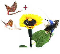 Sun Flower Solar Powered Flying Fluttering Hummingbird Birds