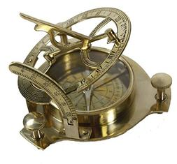 "THORINSTRUMENTS  5"" Sundial Compass - Solid Brass Sun Dial"