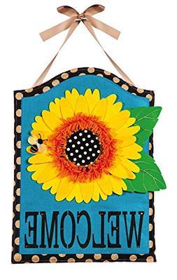 Evergreen Sunflower Welcome Hanging Outdoor-Safe Burlap Door