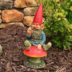 Sunnydaze Adam with Butterfly Gnome Statue - Outdoor Lawn an