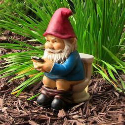 Sunnydaze Cody the Gnome Reading Phone on the Throne - Outdo