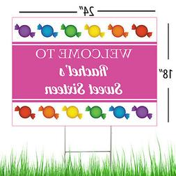 Sweet 16 Personalized Candyland Party Yard Sign, 16th Birthd