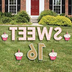 Sweet 16 - Yard Sign Outdoor Lawn Decorations - Happy Birthd