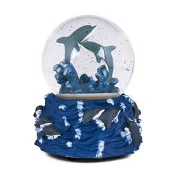 Swimming Jumping Dolphins Ocean Blue Glass Musical Glitter W
