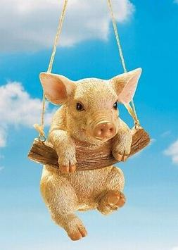 Swinging Pig on Rope Tree Branch Hanging Garden Yard Statue
