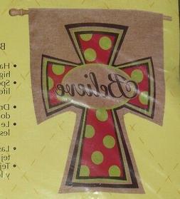 t9 Evergreen BELIEVE Decorative Yard Garden Flag~Religious~C