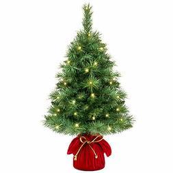 "26"" Tabletop Artificial Christmas Tree Prelit 35 Led Lights"
