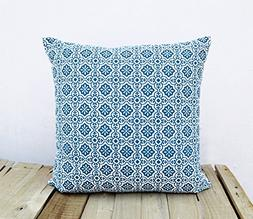 Talavera tile print indigo pillow cover Blue cotton Cushion