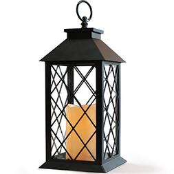 "BRIGHT ZEAL 14"" TALL Black Vintage Candle Lantern with LED F"