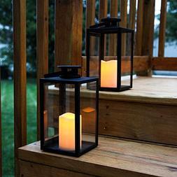 "Outdoor Flameless Black Candle Lanterns, Glass Paneled, 11"""