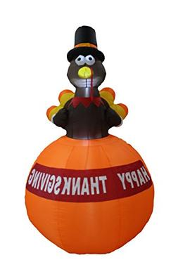 6 Foot Tall Happy Thanksgiving Inflatable Turkey on Pumpkin