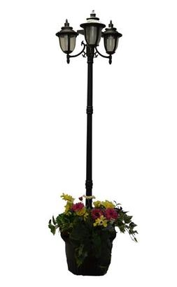 7 ft  Tall Solar Lamp Post and Planter - 3 Heads, White/Ambe