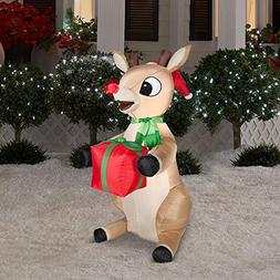 3.5 Ft Tall Seasonal LED Inflatable Outdoor Rudolph the Rein