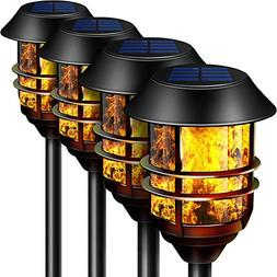 "55"" Tall Solar Torches Lights 4 Pack with Flicking Flame 100"