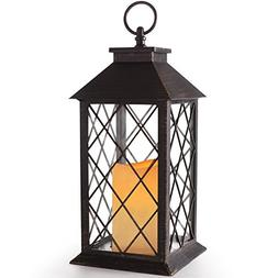 "BRIGHT ZEAL 14"" TALL Vintage Candle Lantern with LED Flicker"