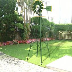 8Ft Tall Windmill Ornamental Wind Wheel Green And Yellow Gar