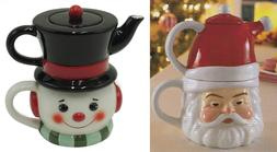 Holiday Time Tea for One; 3 pc. Santa or Snowman Set Christm