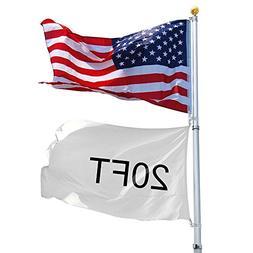 Yeshom 20ft Telescopic Aluminum Flag Pole Free 3'x5' US Flag