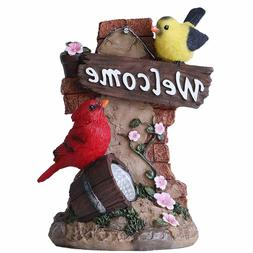 TERESA'S COLLECTIONS Bird Welcome Sign Garden Statue with So