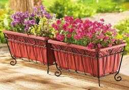 Terra Cotta Garden Planters & Iron Stand - Set Of 2