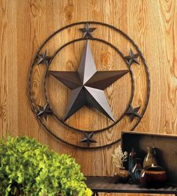 "24"" Texas Lone Star Metal Wall Art Rustic Cowboy Country Wes"