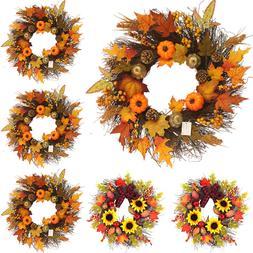 Thanksgiving Harvest Artificial Wreath Door Garland Maple Le