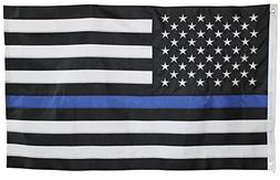 Thin Blue Line Flag - 3X5 Foot with Embroidered Stars and Se