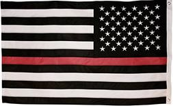Thin Red Line Flag - 3X5 Foot with Embroidered Stars and Sew