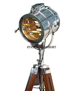Thor Vintage Stage Searchlight Wooden Tripod Stand Search Li