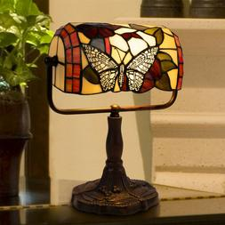Tiffany Style Bankers Table Desk Lamp Stained Glass LED Bulb