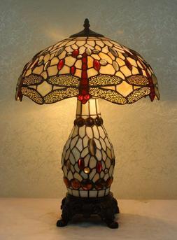 Tiffany Style Dragonfly White Table Lamp W/Illuminated Base