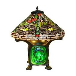Tiffany Style Green Dragonfly Table Lamp - Turquoise Stained