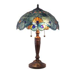 """Tiffany Style Handcrafted Blue Vintage Table Lamp 16"""" Shade"""