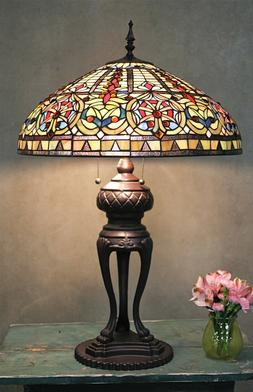 Tiffany Style Handcrafted Stained Glass Emperor Table Lamp 1