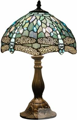 Blue Stained Glass Dragonfly Table Lamp Tiffany Style Shade